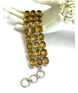 Handmade Honey Quartz 925 Sterling Silver Bracelet - $80.00