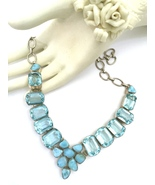 Handmade Larimar and Swiss Blue Topaz 925 Sterl... - $67.20