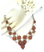 Handmade Amber and Pearl 925 Sterling Silver Ne... - $70.40