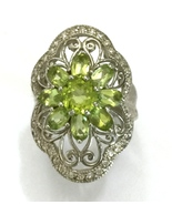 Handmade Art Deco Style Peridot and 925 Sterlin... - $35.20