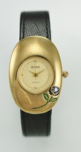Benrus Woman's Gold Tone Black Leather Band Wat... - $32.62
