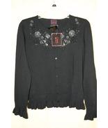 Colour Works Black Button-Up Front Embellished ... - $8.99