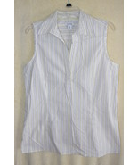 Dockers White Sleeveless Striped Cotton Summer ... - $6.99