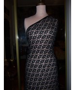 HAND BEADED 5.6yds BLACK LACE EMBROIDERED ALL O... - $550.00