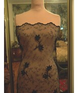 IMPORT LACE FABRIC EMBROIDERED NET IN BLACK  W/... - $150.00