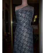 ELEGANT HAND BEADED PEWTER LACE W/  SILVER SEQU... - $380.00