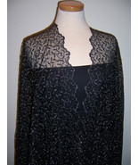2.25yd DELICATE FRENCH EMBROIDERED BLACK & META... - $52.00
