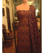 4.5yds WINE LACE NET FABRIC DAZZLING ALL OVER M... - $150.00