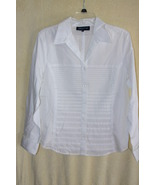 Jones New York Signature White Pleated Front Dr... - $9.99