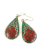 Handmade Tibetan 925 Turquoise and Coral Earrings - $12.79