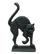 Cast Iron BLACK CAT Door Stop with Glass Eyes S... - $37.62