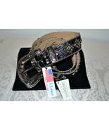 NWT $255 BB Simon Wide BLACK Leather Belt Fleur... - $109.66