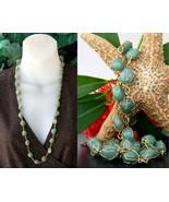 Vintage Green Gemstone Necklace Gold Tone Wire ... - $24.95