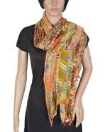 Vintage Silk Sari Recycled Scarf Stole Patchwor... - $10.45