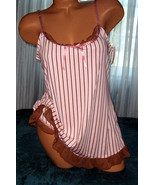 Stripe 2 Piece Nightgown Babydoll Short Gown Pa... - $17.50