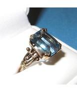 Vintage Art Nouveau 14K Gold and Blue Topaz Rin... - $791.01