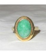 Vintage 14k Gold Oval Jadeite Jade Ring  Size 7.5 - $1,089.00