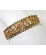 Monet Gold-tone Bangle Bracelet Crystal Accents... - $14.84