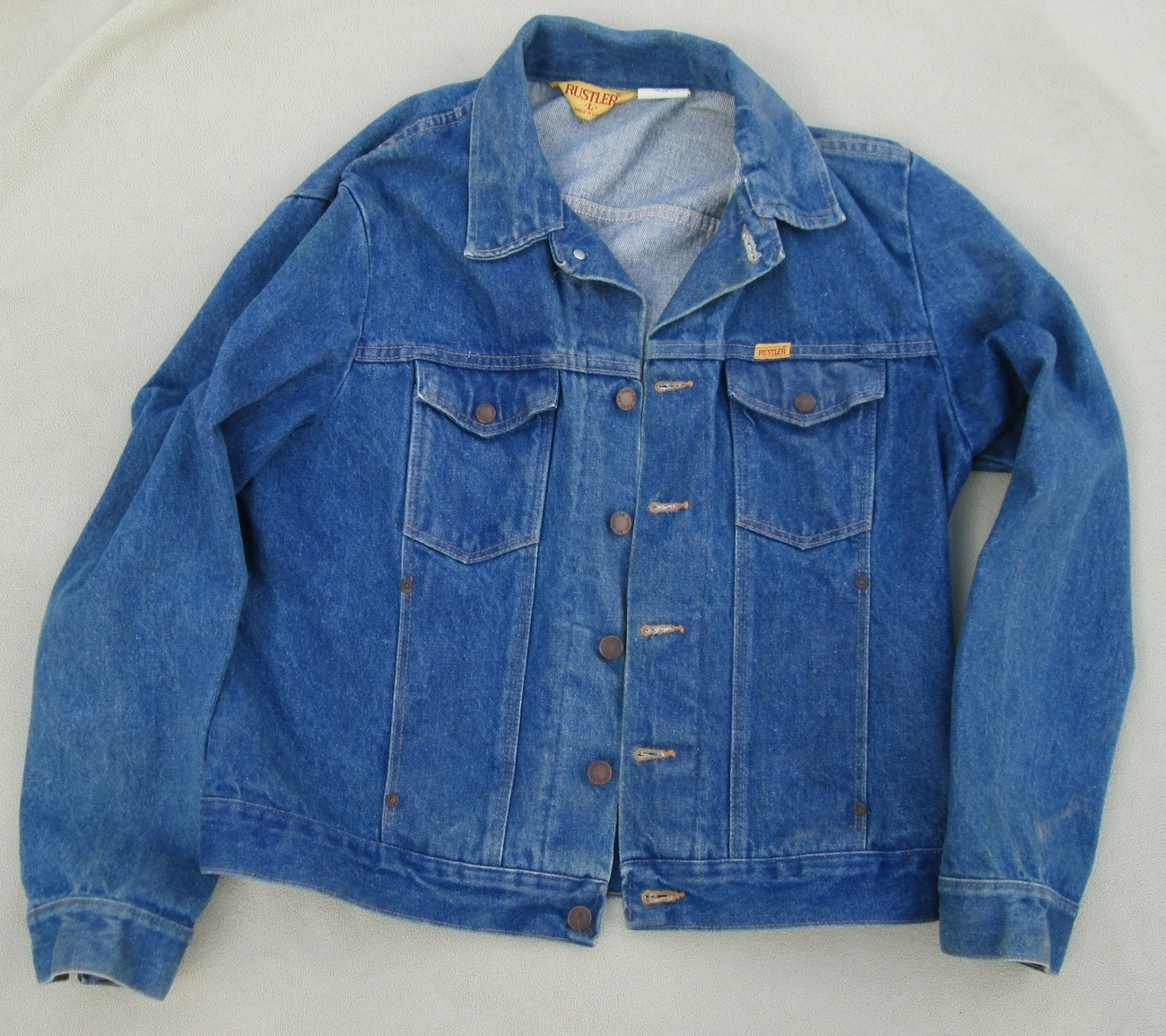 Vintage 1970's Rustler Denim Jean Jacket. Size: Large, Near Excellent Condition.
