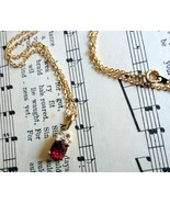 Vintage Red and Clear Crystal Gold Plate Neckla... - $24.99