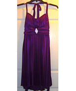 Women's Size L Halter Strap Purple Pleated Dres... - $24.99