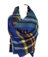 Autumn Blanket Tartan Scarf Purple Blue Pink Ch... - $17.96 - $18.04