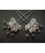 Rhinestone Hair Pin Flower with Crystals Silver... - $6.50