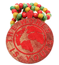 Red Wooden The World Is Yours Beaded Necklace - $13.75