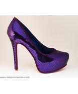 Purple Plum Sequin Stiletto Heels Dress Shoes - $199.99