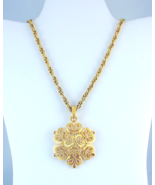Crown Trifari gold tone stylized snowflake pend... - $35.00