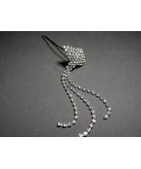 Rhinestone Hair Pin Dangling  Crystals Silver P... - $7.99