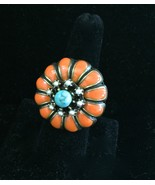 Ollipop Coral Enamel and Turquoise Stone Flower... - $23.99