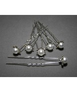 Rhinestone and Pearl Hair Pins Crystals Silver ... - $5.50