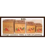 Canister Set Wood Rooster Folk Art 1960s - $24.00