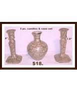 candle holder and flower vase 3 pc set ceramic - $17.82
