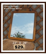 HEAVY ANTIQUE WOOD FRAMED MIRROR - $29.00