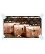 NEW 3 PC. DECORATIVE LUGGAGE MAKE UP CASES - $25.00