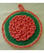 Hot Mat, Hand Crocheted, Coral Dahlia, 100% Cot... - $12.00