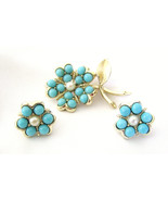 Sarah Coventry Brooch and Earrings Aqua Fleur F... - $24.00
