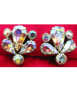 Weiss Rhinestone Earrings Screw Backs Fan Shape - $30.00