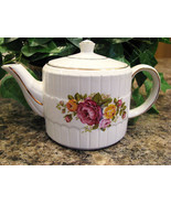 Vintage Wood and Sons Teapot Pink and Yellow Roses - $30.00