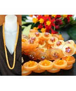 Vintage Buttons Necklace Strand Yellow Orange B... - $18.95
