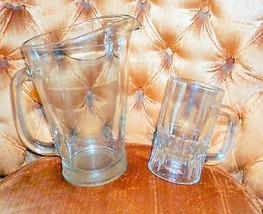 CLEAR GLASS Beer Pitcher & Mug Heavy - $24.95