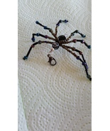 Glass Beaded Black Iridescent Spider Purse Zipp... - $15.00
