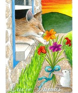ACEO art print Cat #401 mouse fantasy by Lucie ... - $4.99