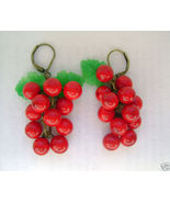 Vintage cherry fruit leaves earrings glass plastic   converted to pierced