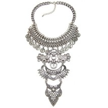Vintage Exaggerated Metal Bib Collar Choker Sta... - $25.99