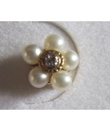 10K Pearl and Diamond Floral Cluster Gold Earri... - $59.00