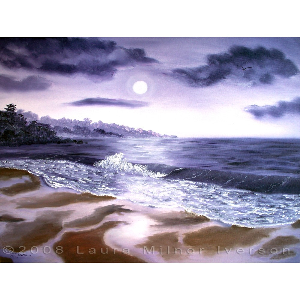 Carmel Purple Moon Monterey California Seascape Oil Painting