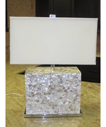 SHELL TILE & CHROME Table Lamp, Modern Beach Co... - $399.00
